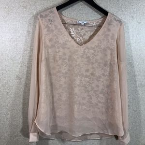 SIONI V-Neck Semi Sheer Chiffon Lace  Blouse